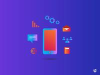 Mobile Tech Gradient Minimal Illustration