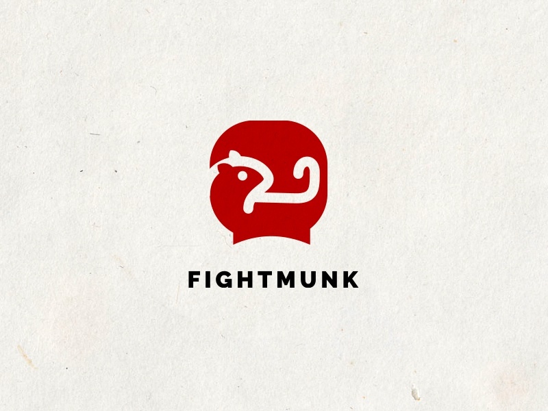 Fightmunk design bold red glove boxing chipmunk squirrel simple fun logo