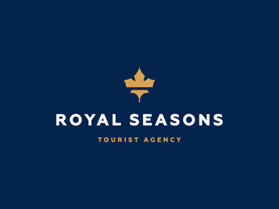 Royal Seasons (Travel Agency) gold travel leaf tree crown seasons royal blue up brandup design logo