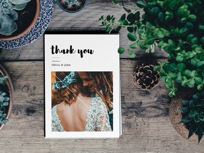 Simple Photo Wedding Thank You Card
