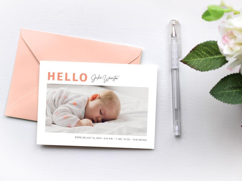 Simple Pastel Photo Birth Announcement modern minimalist simple greeting card stationary design print design graphic deisgn pastel colors hello world new baby birth announcement baby announcement baby newborn
