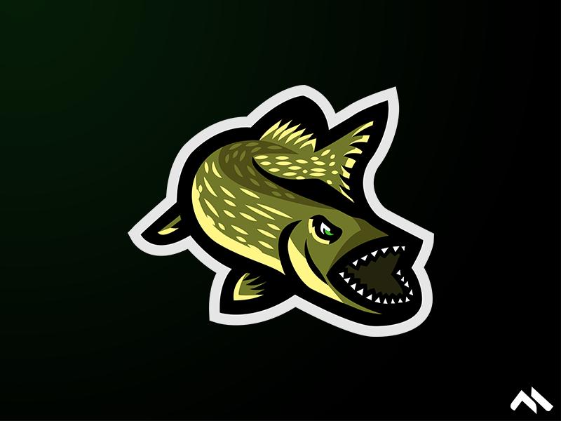 Pike Mascot logo fish pike design buy artoftheday artist illustration artwork identity branding brand art buylogo logomascot mascotlogo mascot logo