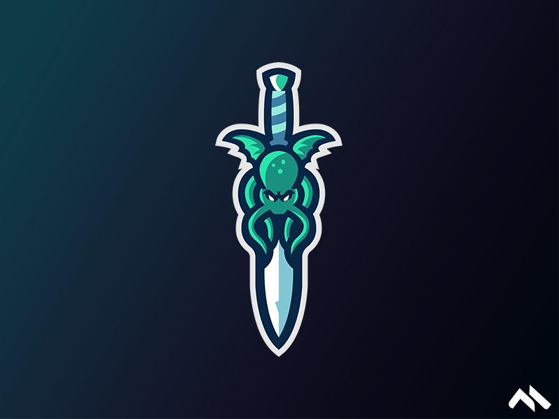 OctoSword octopus octo branding brand art buylogo logomascot mascotlogo mascot logo