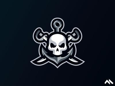 Skull Anchor Mascot logo