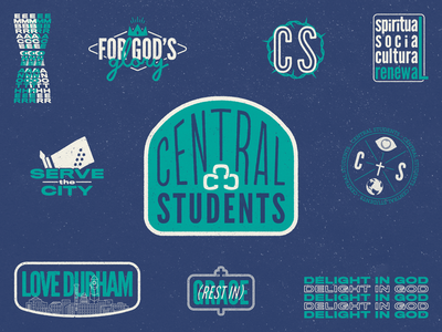 Central Students Stamps textures students church branding youth group ministry youth ministry youth central stickers stamps logo typography