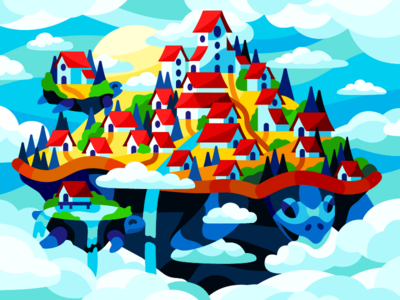 Floating City in the clouds art vector illustration island fantasyart floatingislands village world fantasy world fantasy zero gravity city floating city turtle clouds town