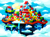 Floating City in the clouds