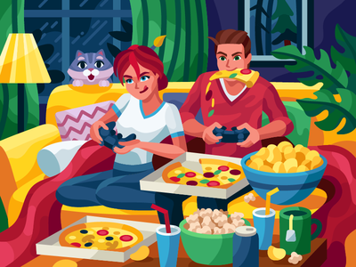 It's high time gaming vector snacks popcorn pizza party illustraion home care gaming game art game couple