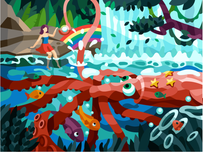 Squid's pearl gallery illustrator vector see world rainbow tentacles octopus waterfall fish sea girl squid