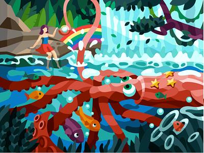 Squid's pearl gallery illustrator vector see world rainbow tentacles octopus waterfall fish sea girl squid