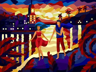 Sunset on beach people painting flat illustration vector gallery couple beach sunset