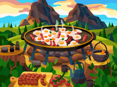Camping morning breakfast painting mountains travel forest holidays vacation flat illustration vector gallery sausages rocks fried egg camping