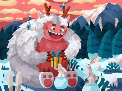 Yeti yetti yeti rabbits rabbit snowman beast monster cute funny winter forest vector gallery coloring book painting
