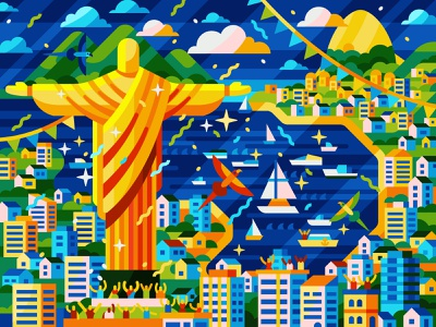 Rio De Janeiro adobe illustrator port city houses town brasilia christ the redeemer christ rio painting by numbers painting flat illustration vector