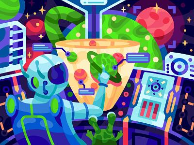 Spaceship cabin colours colors vibrant colorfull alien illustration for children painting illustration vector