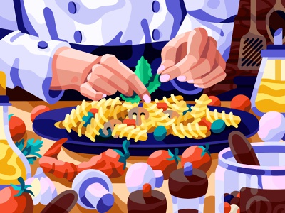 Italian chef web illustration clorfull coloring paint by numbers pbn cucina cooking book cookbook blog illustration illustration vector italian dish italian cuisine radiatore fusili pasta italian chef