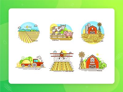 Colourful farm icons set. Part two
