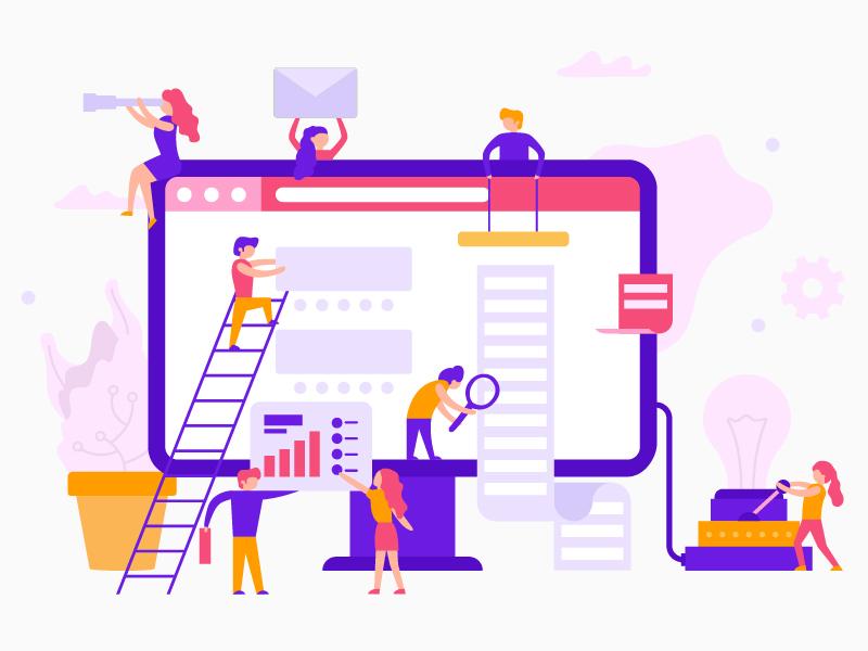 Teamwork process infographic. People create a wedsite. illustrationn vector flat process studio ux ui website teamwork purple people infographic