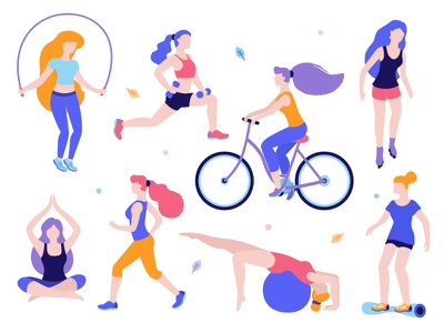 Girls doing sports rollers yoga fitness running walking jogging trainers jumping rope bicycle women girls sport