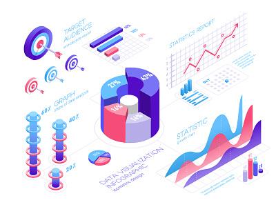 Data visualization infographic isometric design. isometric icons isometric art isometry isometric illustration isometric style isometric growth analisis pie chart 3d information report diagram graph statistic chart isometric design visualization data