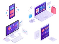 Isometric icons: monitor, laptop, phone, tablet 3D vector design