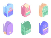 Colorful backpacks isometric icons