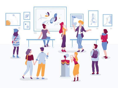 Art Gallery minimalism abstract art exhibition cartoon characters design flat illustration vector contemplative inspiration modern art paintings guide people visitors art gallery