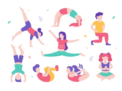 Healthy children doing physical exercises, gymnastics and yoga