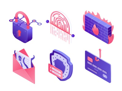 Cyber Security Icons password padlock secure payment email virus threat fingerprint scanner phishing logo safety shield cyber security fingerprint firewall design flat 3d isometric icons infographic illustration vector