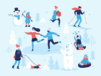 Winter mood ivent couple outdoors casual leisure snowman sledding skiing skating park activity children fair design people infographic illustration vector flat winter