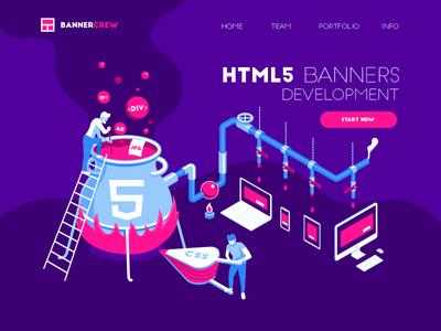 HTML5 banners development ui  ux design ui art dimension creative concept web ad web little people develop banner ad banner html5 teamwork isometric design people infographic illustration flat vector