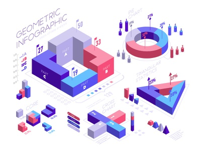 Data visualization infographic isometric design infographic design web vector statistic report design report pie chart percentage isometric information illustration growth graphic deisgn graphic design graphic diagram data chart analisis 3d