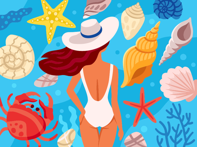Woman By The See weekend restaurant relaxation summer mood starfish summertime illustration flat vector summer wave carbs shell see