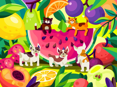 Summer party animals hang out on a watermelon jam juice juicy fruits watermelon summer fruits funny pets motion design summer party summer coctail lemon dogs cats painting gallery beresnev.games animation illustration flat vector