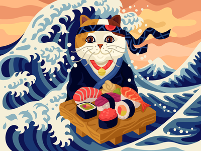 Cat on a sushi wave