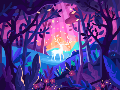 Magic Deer in a forest