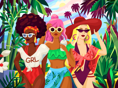 Girls sexy girl girlfriends women swimwear swimsuit party summer fashion summer party fashion sunglasses girls on vocation friendship friends girl illustration flat vector girlpower femenine girls