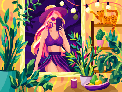 Selfie fashion illustration fashion swimsuit pink hair pink purple violet look outfit summer plants interior selfie illustration leaves woman girl illustration flat vector