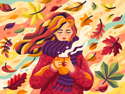 Autunm feelings scarf cup of coffee cup of tea warm clothes warm colors girl cup orange game gallary illustration flat vector autumn leaves autumn mood autumn sweater coffee team