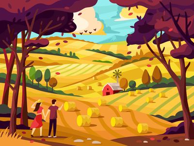 Autumn yellow sea with the fields' waves romantic couple forest colorful gallery people landscape illustraion vector agricultural farm barn countryside country autumn agriculture fields