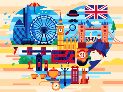 London illustration flat vector landmarks england training queen crown big ben logotype london underground great britain i love london london bus sherlock holmes queen london bridge london eye london