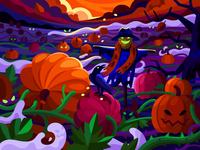 Creepy pumpkin field