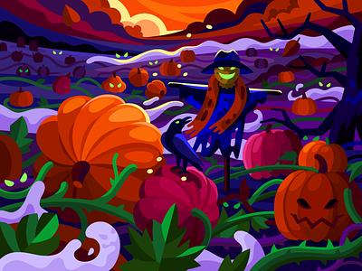 Creepy pumpkin field gallery vector flat dark colors game illustration scene night halloween dusk crown dawn ghosts scarecrow spooky scared creepy pumpkins