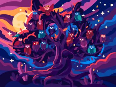 The owl magic tree with owls fairytale storytelling story fantasy mystical illustration vector moon turning night forest magic star night magic treee tree birds owl
