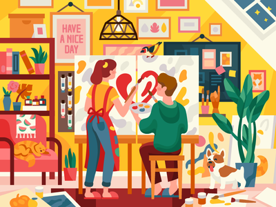 One Love, one Heart, one Art! couple painters painting family freelancers vector illustration romantic accommodation heart gallery artlovers artistic artwork art interior attic couples love artists