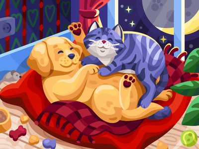 Cudling pets gallery painting lullaby sleeping time couple baby animals cute animals illustration vector animal feed animal lover romantic pet care animal animals dog cat pet pets