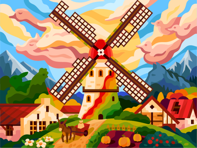 The spirit of domestic animals still enlivens this old mill country mill donkey cattle pets cartoon vectors houses windmill animals ducks painting flat village windy domestic animals spirit vector illustration old mill