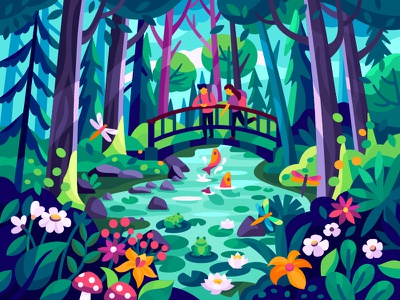 Forest moment illustration vector gallery vectr illustration fresh air resst ecological ecology eco lake couple travel nature recreation sity park fish river park forest