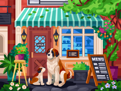 Dogs are waiting for you from the shop vector illustration outside menu saint bernard digital painting digitalart illustration vector art exterior illustration exterior design shop exterior exterior cafe puppy waiting dog dog pet street coffee shop coffeeshop shop