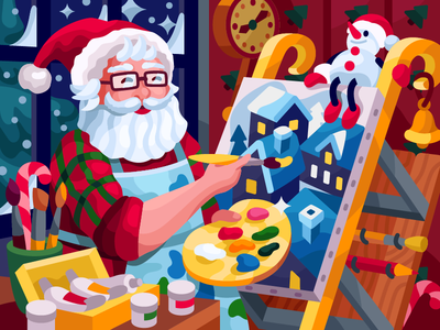 Santa Artist, Why not? xmas winter palette paints easel coloring book gallery vector illustration vectorart illustration passion hobby santaclaus drawing process sledge paining santa artist christmas card santa claus santa